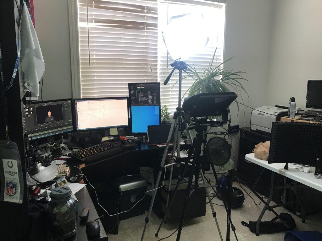 Matt's messy office with his home studio equipment setup