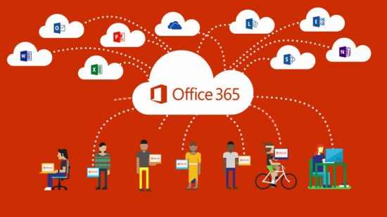 Office 365 logo in a cloud connected to other Office 365 product logos
